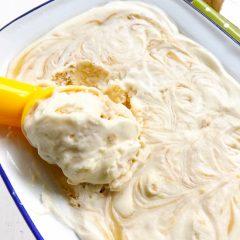 No Churn Honey Peanut Butter Swirl Ice Cream