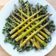 Maple Tender Roasted Asparagus with Kale Chips | BakeThenEat.com