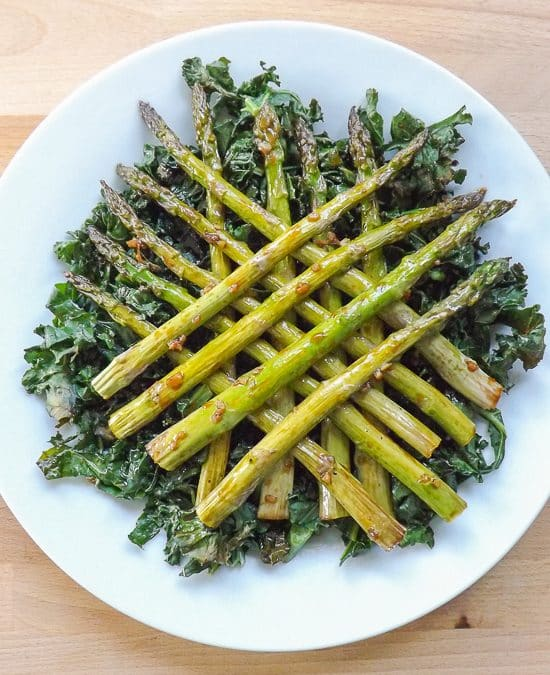 Maple Tender Roasted Asparagus with Kale Chips