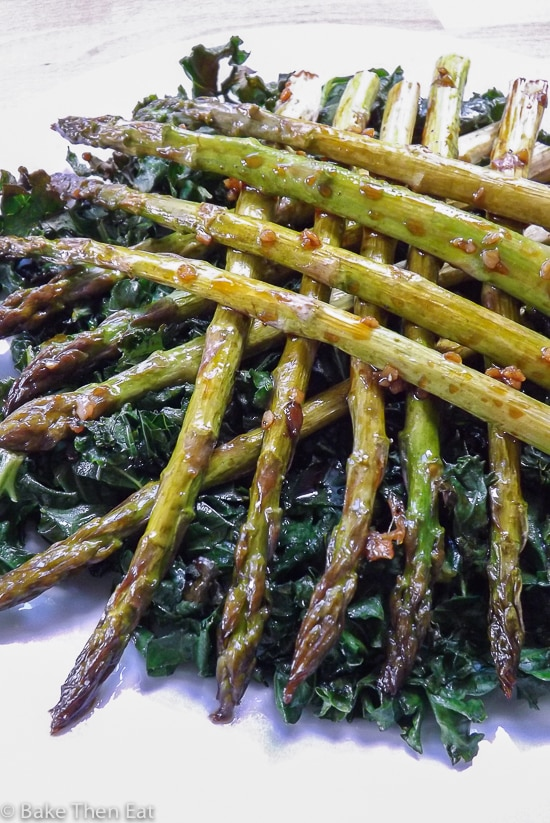 Maple tender roasted asparagus with kale chips bake then eat maple tender roasted asparagus with kale chips baketheneat ccuart Gallery