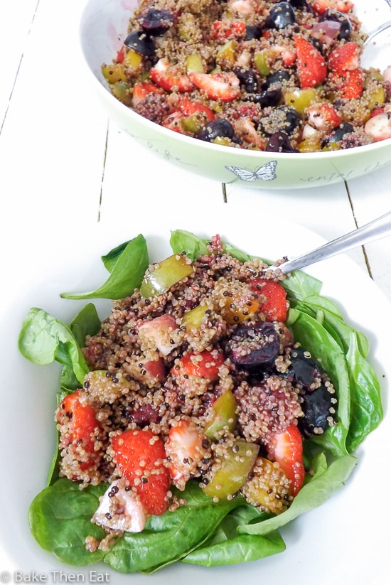 Quick Vegan Summer Fruit Quinoa Salad | BakeThenEat.com