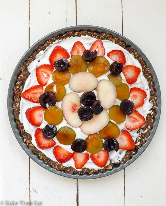 Easy Fruit & Yogurt Healthy Breakfast Tart {GF} | BakeThenEat.com