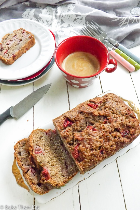 Reduced Sugar Strawberry Banana Bread | BakeThenEat.com
