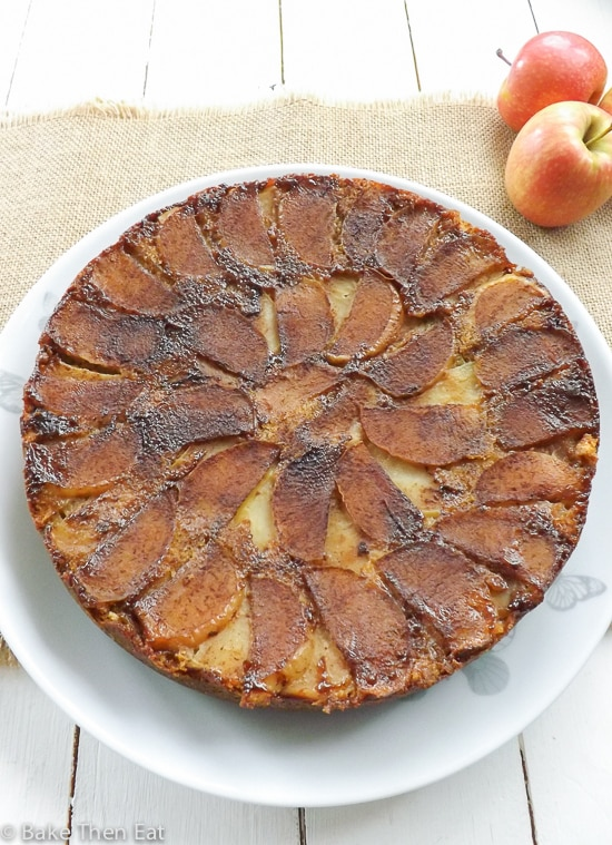 Peanut Butter Upside Down Apple Cake | BakeThenEat.com