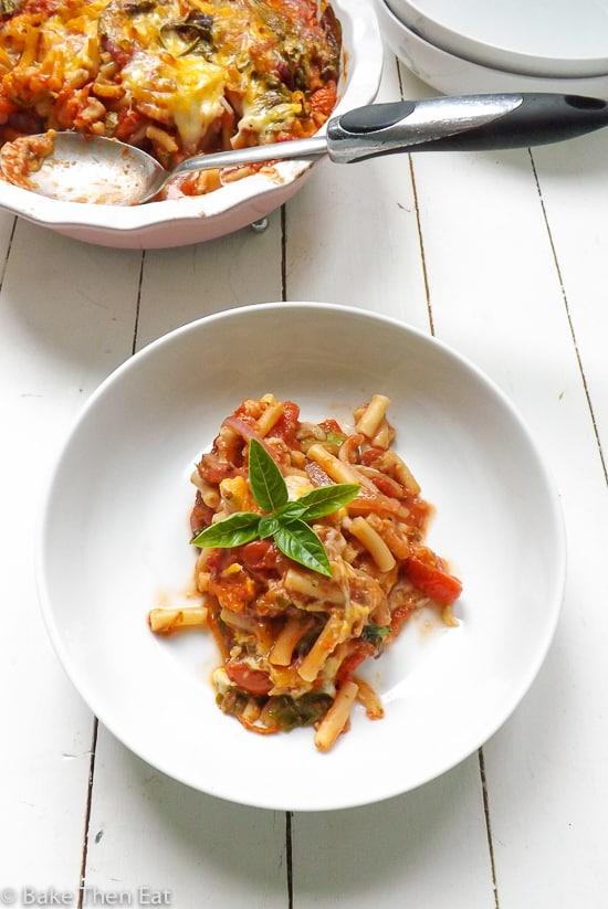 Oven Baked Tomato Cheese Pasta | https://BakeThenEat.com