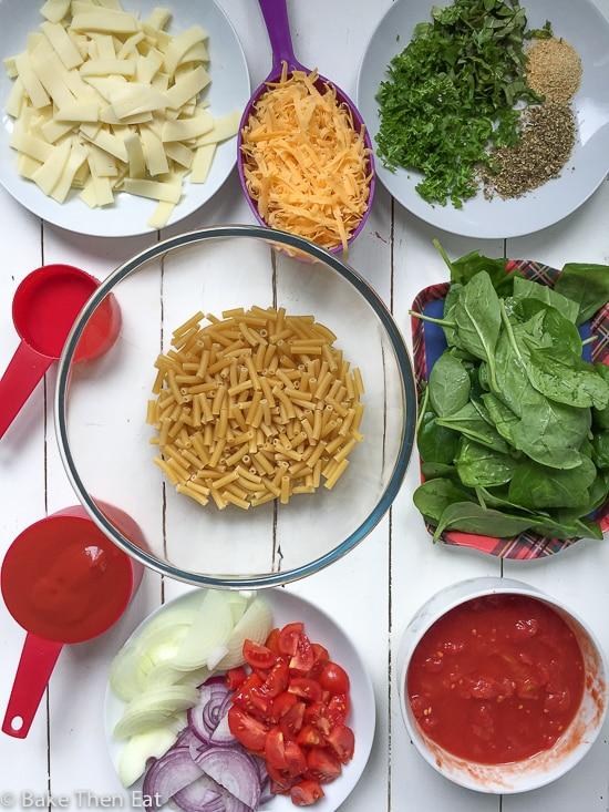 One Dish Oven Baked Tomato Cheese Pasta | https://baketheneat.com