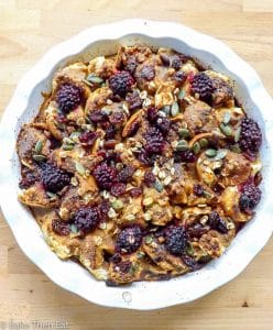 Peanut Butter Pumpkin Fruity Breakfast Bake | https://baketheneat.com