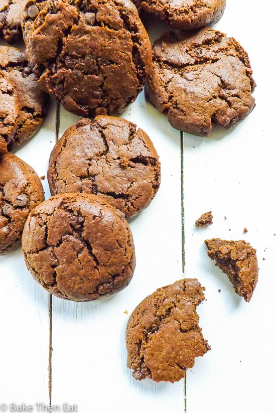 Soft & Chewy Double Chocolate Mint Chip Cookies. Easy to make and a simple recipe to follow | BakeThenEat.com