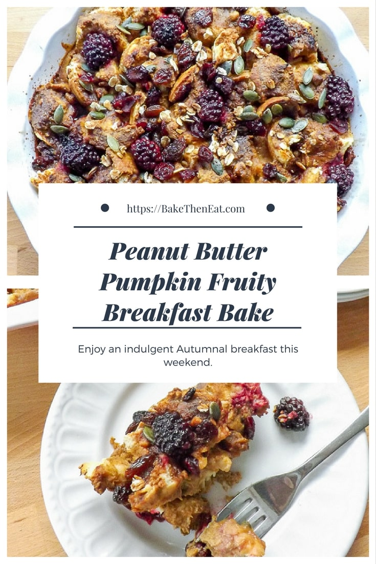 Peanut Butter Pumpkin Breakfast Bake - the perfect indulgent breakfast for a lazy weekend. Sweet pumpkin and peanut butter flavour this whole bake. | BakeThenEat.com
