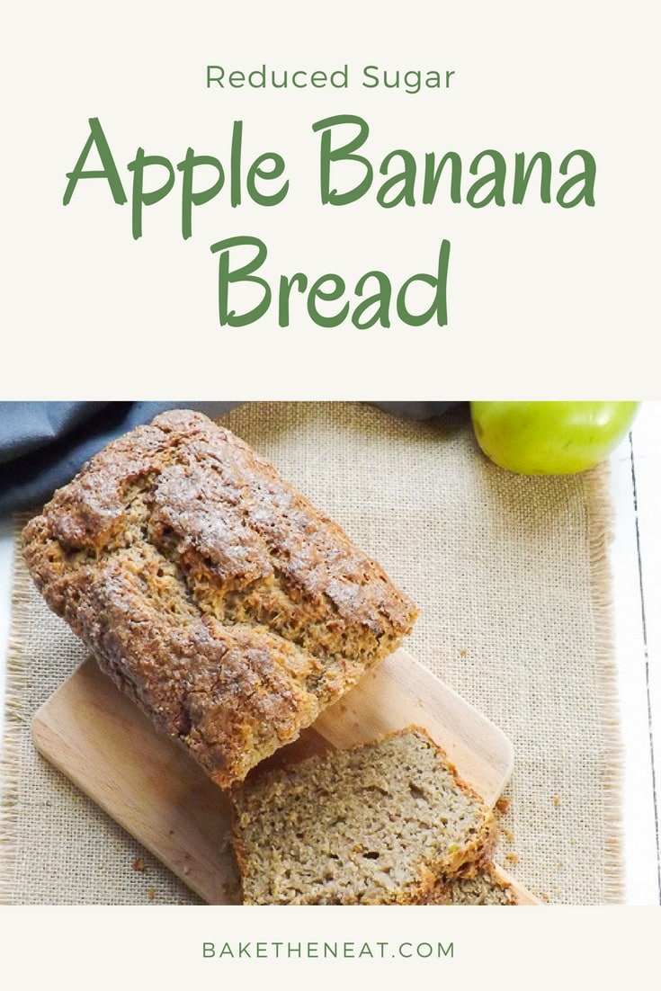 Reduced Sugar Apple Banana Bread - a lighter healthier quick bread, flavoured with apple and banana. | BakeThenEat.com