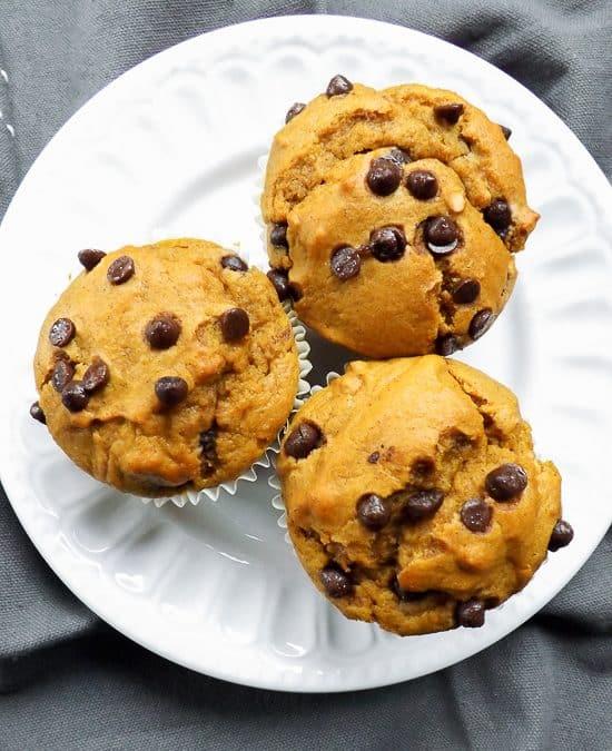 Sweet Potato Chocolate Chip Peanut Butter Muffins