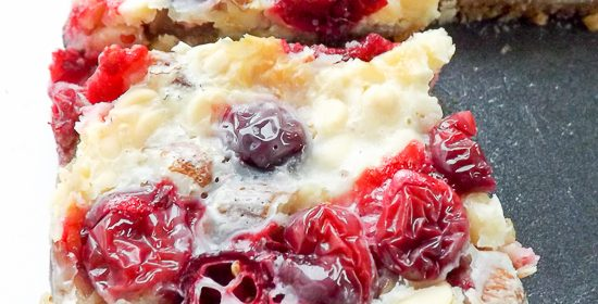 White Chocolate Gooey Fresh Cranberry Bars