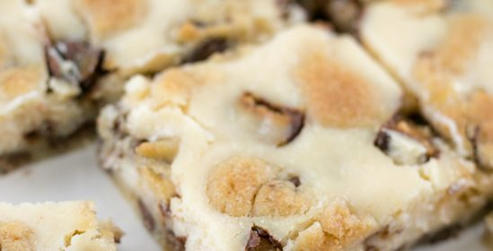 Easy Chocolate Chip Cookie Snickers Cheesecake Bars