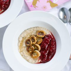 Caramelised Banana Oatmeal with Raspberry Compote