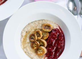 Caramelised Banana Oatmeal with Raspberry Compote