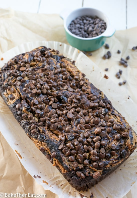 Peanut Butter Swirl Chocolate Banana Bread is an easy to make banana bread richly flavoured with chocolate and peanut butter | BakeThenEat.com