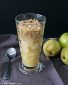 Individual Microwave Apple Pear Crumbles | BakeThenEat.com