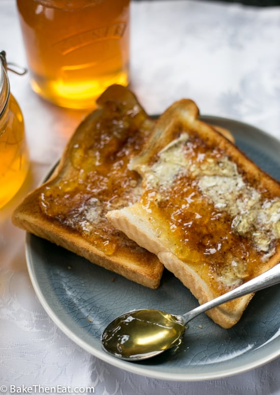 Super Easy Homemade Lemon Marmalade spread on hot buttered toast | BakeThenEat.com