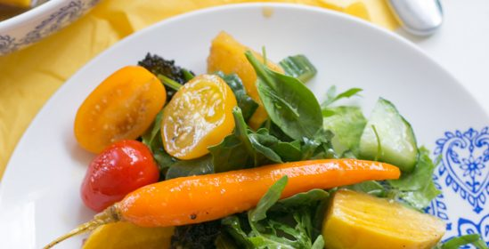Warm Balsamic Honey Roasted Vegetable Salad