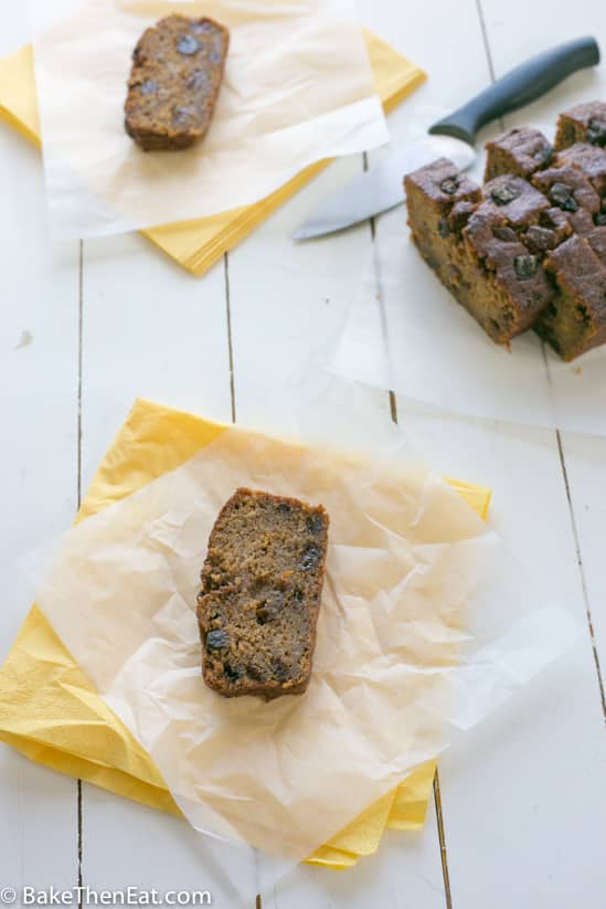 A slice of Apricot Almond Banana Bread | BakeThenEat.com