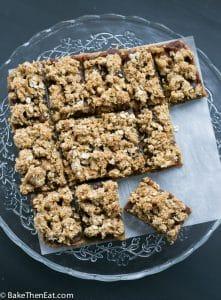 Easy Sticky date oat slices on a tray | BakeThenEat.com