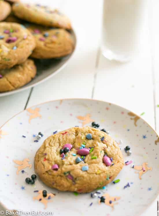 Unicorn Sprinkle White Chocolate Chip Cookies | BakeThenEat.com