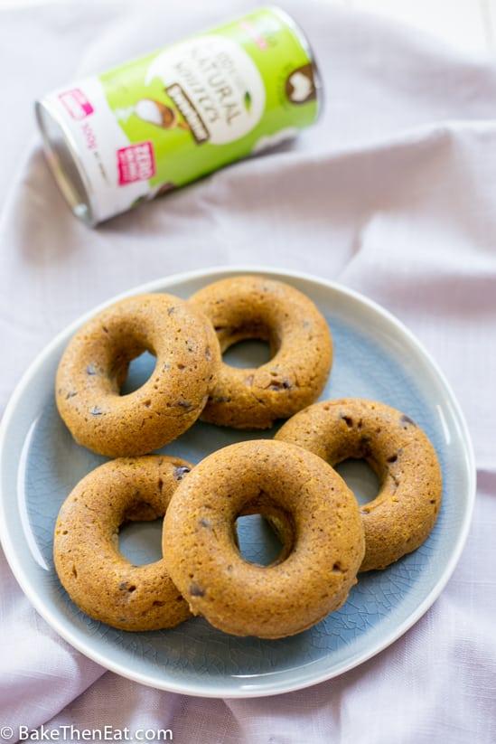 Vegan Sugar Free Chocolate Chip Pumpkin Donuts   BakeThenEat.com