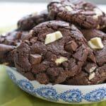 A big dish of double chocolate chunk cookies | BakeThenEat.com