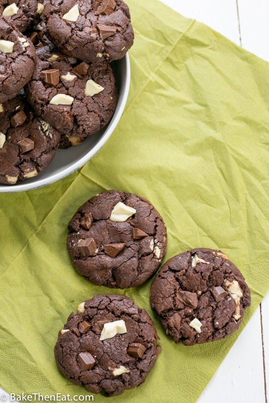 double chocolate chunk cookies on a napkin | BakeThenEat.com