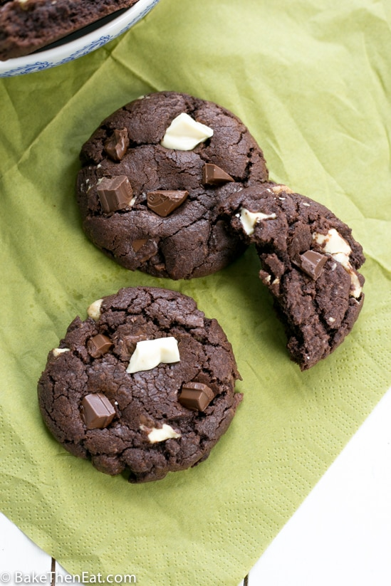 double chocolate chunk cookies | BakeThenEat.com