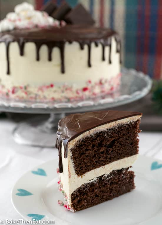 A slice of Rich Chocolate Peppermint Drip Cake | BakeThenEat.com