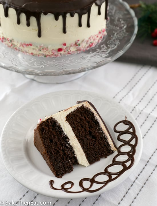 A big slice of Rich Chocolate Peppermint Drip Cake | BakeThenEat.com
