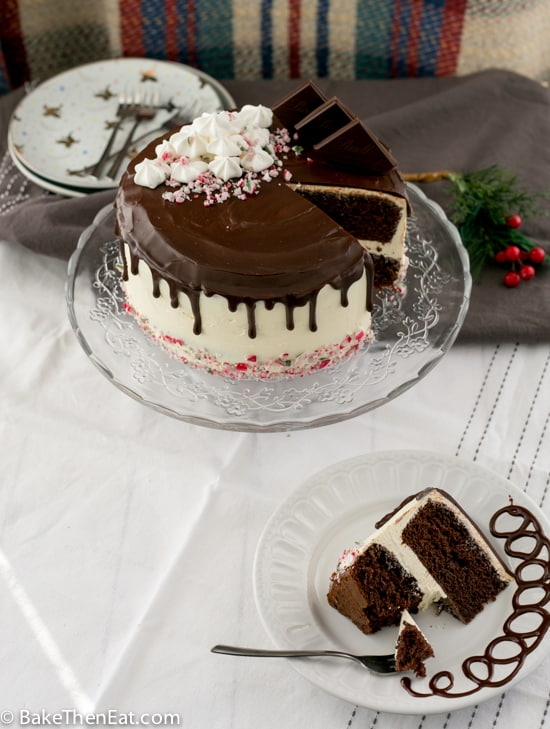 Rich Chocolate Peppermint Drip Cake with a slice taken out of it | BakeThenEat.com
