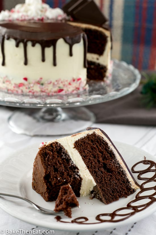 Rich Chocolate Peppermint Drip Cake | BakeThenEat.com