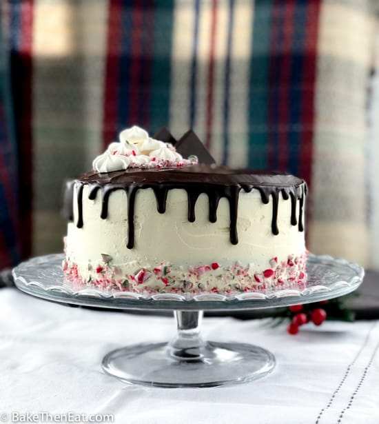 Rich Easy Chocolate Peppermint Drip Cake on a cake stand | BakeThenEat.com