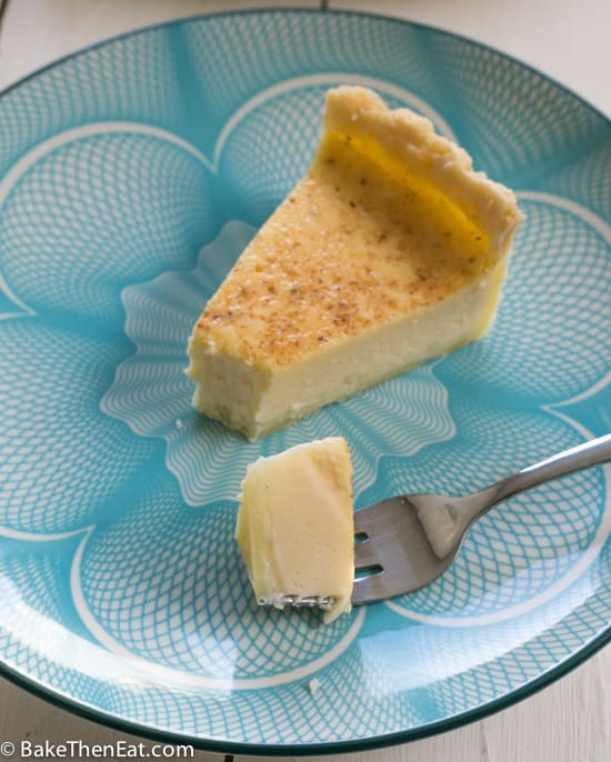 A slice of Super Simple Old Fashioned Egg Custard Tart | BakeThenEat.com