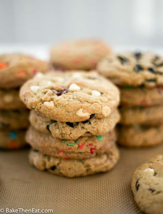 Stacks of cookies all made with the 1 Batter 4 Different Cookies recipe | BakeThenEat.com
