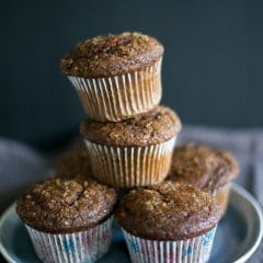 A stack of easy gingerbread muffins | BakeThenEat.com