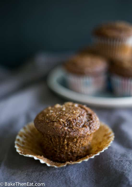 An easy gingerbread muffin with the case peeled off | BakeThenEat.com
