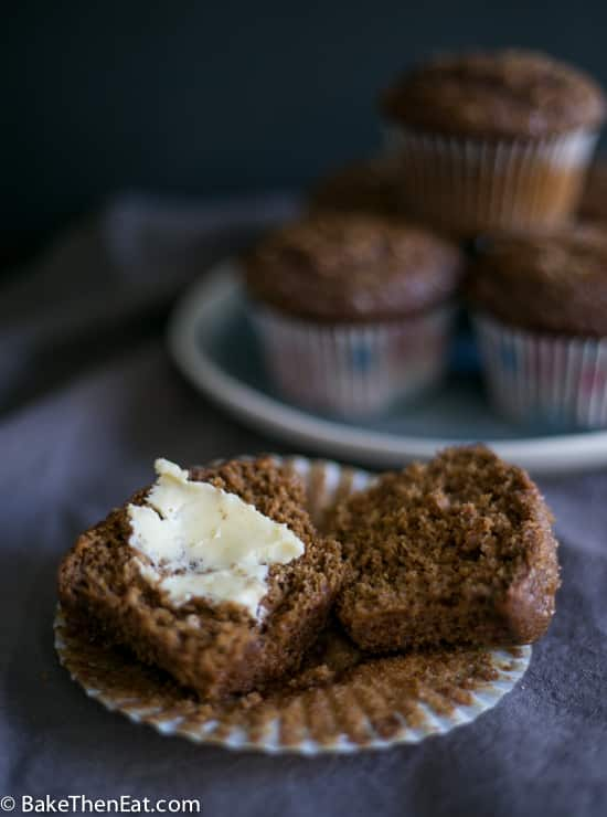 A buttered up Easy Gingerbread Muffin | BakeThenEat.com