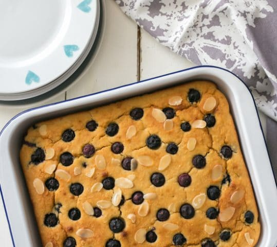 Cannellini Bean Blueberry Almond Tray-Bake