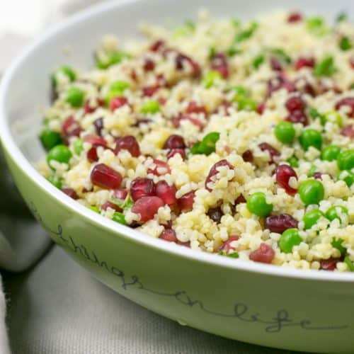 Pea and Bulgur Wheat Salad dressed and ready to eat | BakeThenEat.com