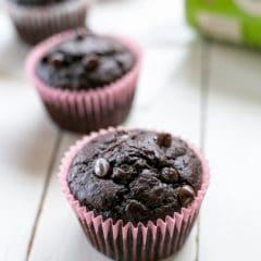 Delicious sugar free double chocolate muffins | BakeThenEat.com