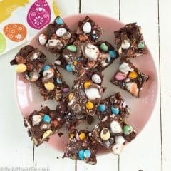 A plate of Easter Themed Rocky Road squares