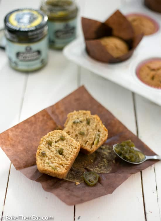Candied Jalapeño Honey Muffins cut in half | BakeThenEat.com
