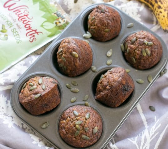 Pumpkin Seed Brown Sugar Banana Muffins
