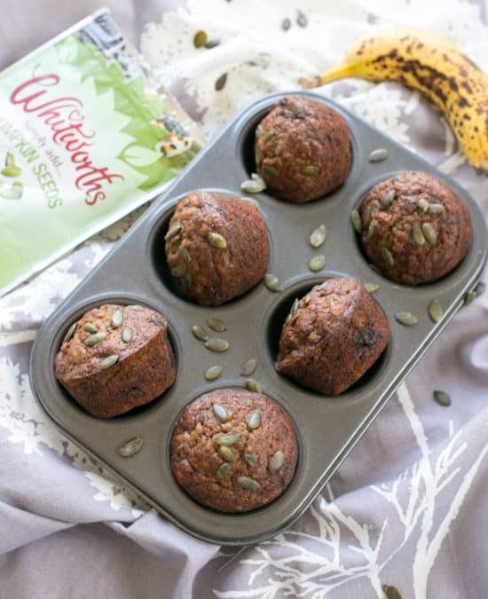 Pumpkin Seed Brown Sugar Banana Muffins
