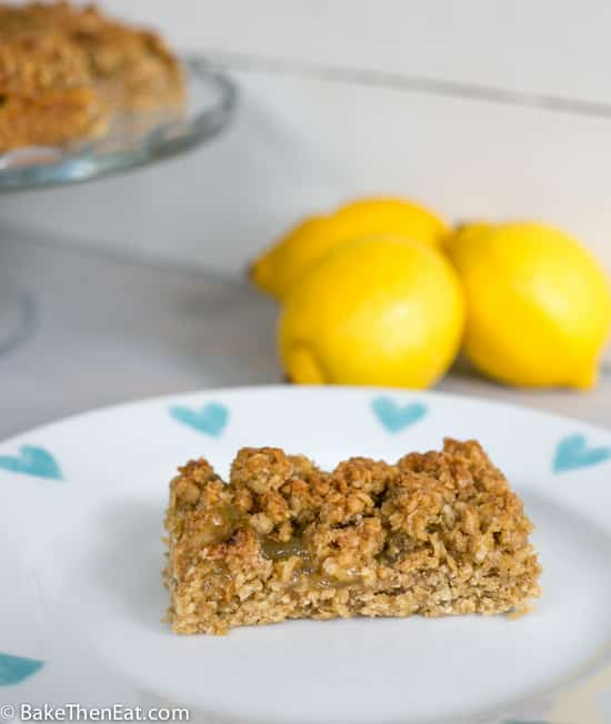 One of the zesty lemon flapjacks on a plate | BakeThenEat.com