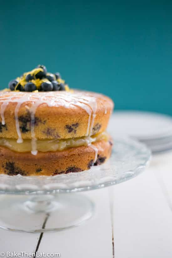 A side shot of this simple lemon blueberry cake