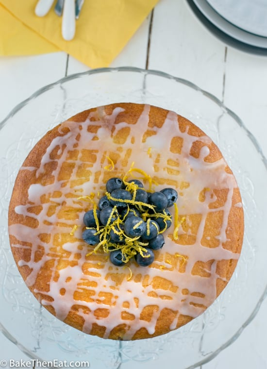 An above shot of this simple lemon blueberry cake